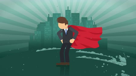 capote : Superhero standing on city background. Near a cloud of dust. Business symbol. Leadership and Achievement concept. Comic loop animation.