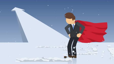 overcoming : Arrow graph up. Superhero standing near a cloud of dust. Business symbol. Leadership and Challenge concept. Comic loop animation.