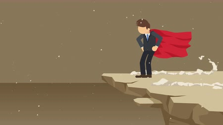 герой : Superhero businessman standing on cliff ready for challenge. Business symbol. Challenge and Success concept. Comic loop animation.