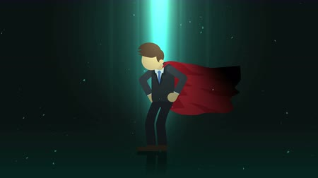 plášť : Superhero standing in spotlight. Business symbol. Leadership and Achievement concept. Comic loop animation.
