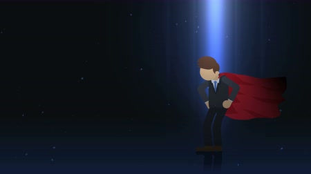overcoming : Superhero standing in spotlight. Business symbol. Leadership and Achievement concept. Comic loop animation.