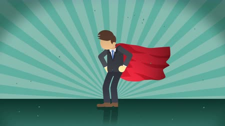 plášť : Superhero standing on the sunburst background. Sun beam ray background. Business woman concept. Comic loop animation.