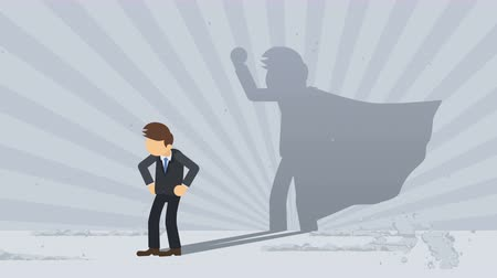 servet : Businessman standing with superhero shadow. Business symbol. Winner and Challenge concept. Comic loop animation. Stok Video