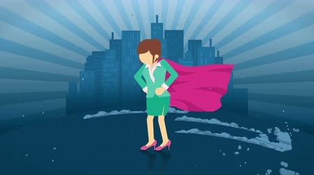 servet : Superhero standing on city background. Near a cloud of dust. Business woman symbol. Leadership and Achievement concept. Comic loop animation.