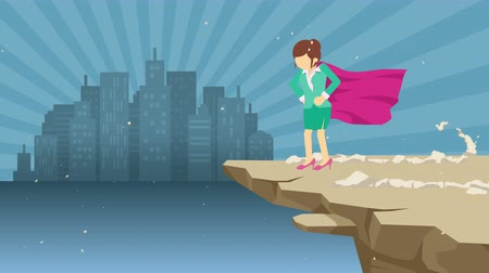 servet : Superhero business woman standing on cliff ready for challenge. Business symbol. Challenge and Success concept. Comic loop animation.