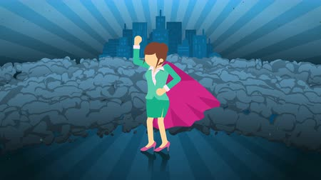 overcoming : Superhero standing on city background. Near a cloud of dust. Business woman symbol. Leadership and Achievement concept. Comic loop animation.