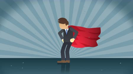 герой : Superhero standing on the sunburst background. Sun beam ray background. Business concept. Comic loop animation.