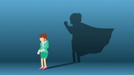 plášť : Business woman standing with superhero shadow. Business symbol. Winner and Challenge concept. Comic loop animation.