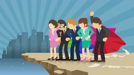 plášť : Superhero Business team standing on Cliff ready for challenge. Business team symbol. Teamwork and Success Concept. Comic loop animation.