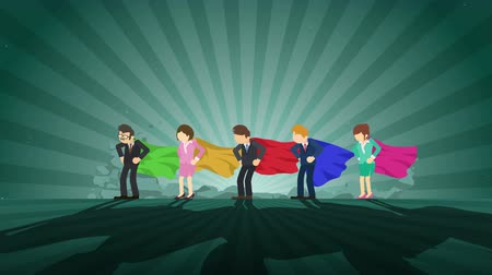 overcoming : Superheroes standing in spotlight. Business team winner. Teamwork and Success. Loop animation. Stock Footage