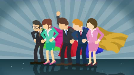 герои : Superheroes standing on sunburst background. Sun beam ray. Business team. Loop animation. Стоковые видеозаписи