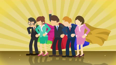 герой : Superheroes standing on sunburst background. Sun beam ray. Business team. Loop animation. Стоковые видеозаписи