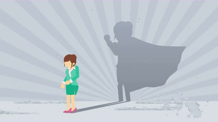 герои : Businessman standing with superhero shadow. Business woman symbol. Winner and Challenge concept. Comic loop animation.