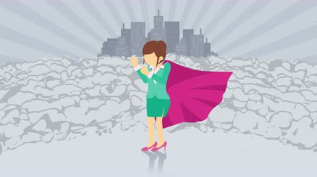 plášť : Superhero standing on city background. Near a cloud of dust. Business woman symbol. Leadership and Achievement concept. Comic loop animation.