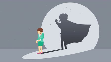 plášť : Businessman standing with superhero shadow. Business woman symbol. Winner and Challenge concept. Comic loop animation.
