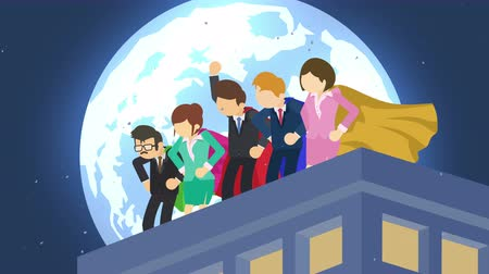 overcoming : Superheroes in moonlight city. Standing over skyscraper. Business team symbol. Teamwork and Leadership concept . Comic loop animation.