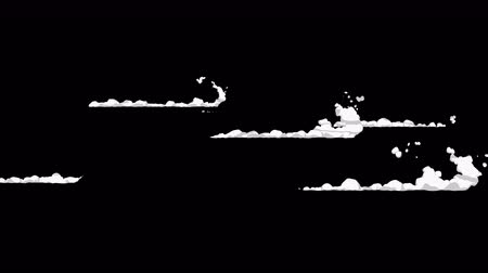 halftone : Smoke animation from fast movement. Animation element for game. Cartoon steam clouds. Loop black animation. Stock Footage