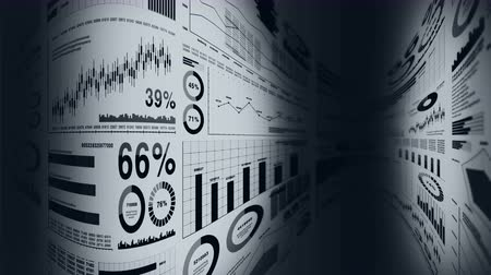 pentágono : Financial bar charts and growing graphs. Business infographics with depth of field on light white background. Business success, growth or progress concepts. Loop animation.