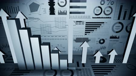 economics : Solid geometric objects for graphs. Rectangular bar chart Infographics loop animation. Charts and graphs. Business success concept. Data visualization elements. Stock Footage