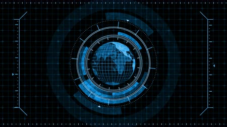 finder : Planet earth hologram in virtual display. Futuristic user interface HUD. Game control target element. Technological monochrome digital globe world. Future radar screen. Stock Footage