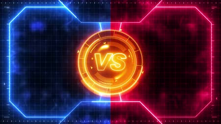 blue red : Futuristic sports game loop animation. Versus fight background. Radar neon digital display. X target mark. Game control interface element. Battle fight sports competition.