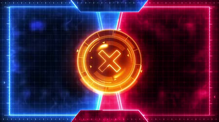 kereső : Futuristic sports game loop animation. Versus fight background. Radar neon digital display. X target mark. Game control interface element. Battle fight sports competition.