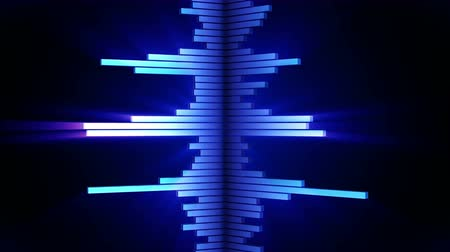 ekolayzer : Audio blue wave animation. Sound wave from equalizer. Pulse music player. Futuristic digital sound wave concept. Loop background. Stok Video