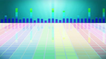 ekolayzer : Colorful sound waves for party. Disco background. Abstract colorful wave pattern. Loop animation of music equalizer.