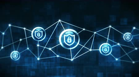 animação : Shield security with safety lock icon. Internet connection. Firewall,Password,Protection. Privacy sign floating. Polygonal Space with Connecting Dots and Lines. Wireframe polygon and icon.