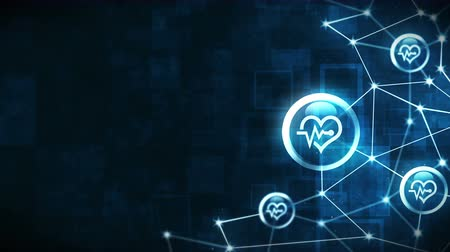 electro : Heart with a heart beat icons floating. Electro Cardiogram. ECG. Communication connection. Heart with Pulse. Heart rate. Polygonal Space with Connecting Dots and Lines. Wireframe polygon and icon.