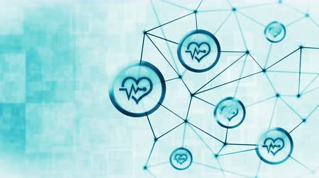elektro : Heart with a heart beat icons floating. Electro Cardiogram. ECG. Communication connection. Heart with Pulse. Heart rate. Polygonal Space with Connecting Dots and Lines. Wireframe polygon and icon.