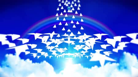 оригами : Animation of Flowing White Paper Plane on Blue Sky with Clouds and Rainbow. Business or Innovation concept. Business mail. Handmade origami airplane flying.