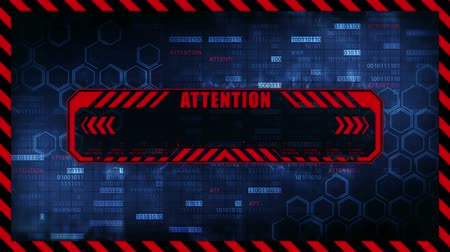 alerta : Attention message with copy space. Hexagon geometric design and binary numbers background. Digital screens frame. Game design GUI. Technology concept. Vídeos