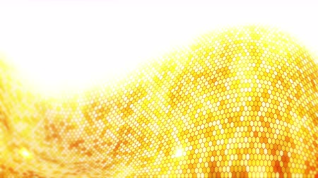hexagon glow : Yellow Electric Lightning honeycomb background. Glowing electric hexagon with shining light. Business technology loop animation.