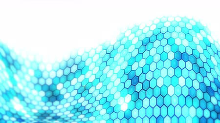 многоугольник : Blue Electric Lightning honeycomb background. Glowing electric hexagon with shining light. Business technology loop animation. Стоковые видеозаписи