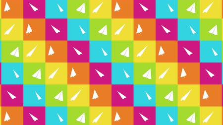оригами : Handmade paper plane collection. Loop animation of flowing white paper plane on colorful background. Business connection concept. Origami Airplane Flying.