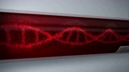 ismétlés : Molecule of DNA System with Red Blood in Test Tube. Blood test equipment. Loop animation. Medical concept. 3d rendering vein and artery.