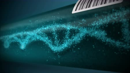 DNA molecule in test tube. DNA helix as a symbol for genetics. Test equipment. Medicine and technology concept. Loop animation. Vidéos Libres De Droits
