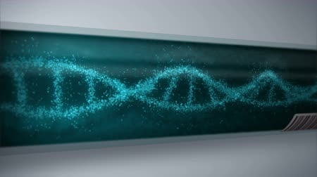 DNA molecule in test tube. DNA helix as a symbol for genetics. Test equipment. Medicine and technology concept. Loop animation. Стоковые видеозаписи