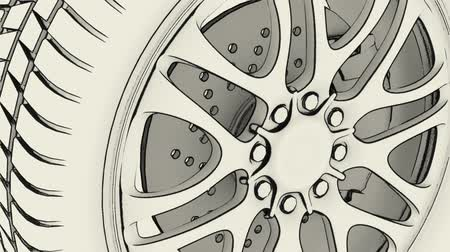 automobilový průmysl : 360° illustration sketch of a wheel rim rotation, very clean and stylish illustration, seamless loop,