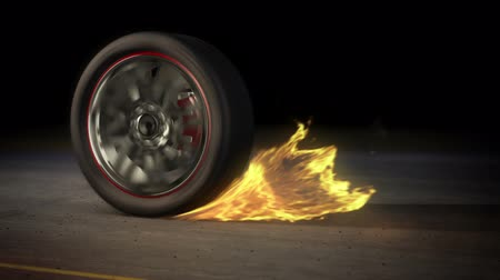 сжигание : tire Burnout on asphalt, creates lots of fire & heat :)