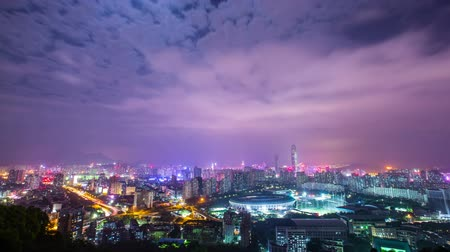senfoni : City time lapse shot. China night, accelerated shooting. Stok Video