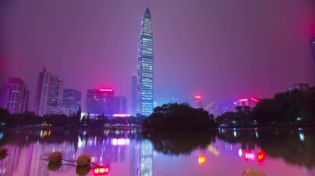 Night city with skyscrapers in China. Shooting time-lapse. Stock Footage