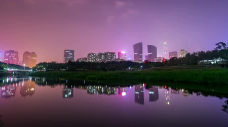 City in China timelapse shot. Night time