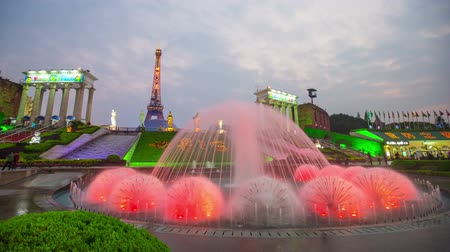 City fountains in China in the city center. time lapse shooting Stock Footage