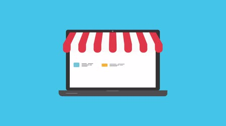 markiza : Online shop. Digital Marketing, store, E-commerce shopping concept. Striped awning over laptop screen with buy button. Wideo
