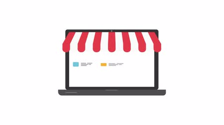 kurzor : Online shop. Digital Marketing, store, E-commerce shopping concept. Striped awning over laptop screen with buy button. Dostupné videozáznamy