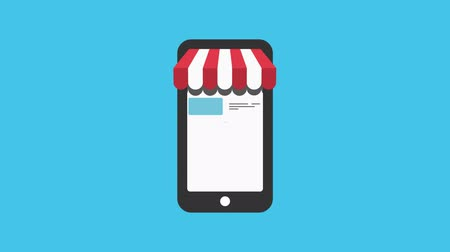 легкий : Online shop. Digital Marketing, store, E-commerce shopping concept. Striped awning over smartphone screen with buy button.