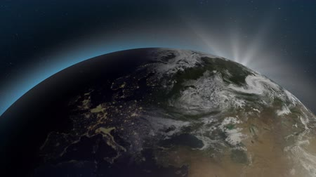 épico : Highly detailed beautiful sunrise over Europe zone with night time cities from space. 3D Rendering animation using satellite imagery of NASA. Epic sunrise from space. Vídeos