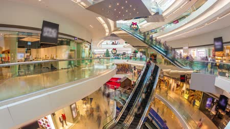 unrecognizable people : Hyperlapse video of a busy shopping mall
